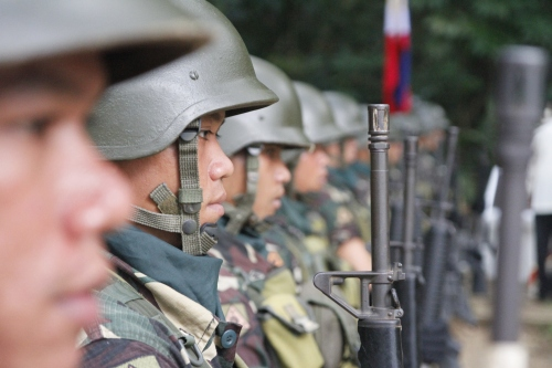 Soldiers stand guard at the Rizal Day celebration in Dapitan on Dec. 30.